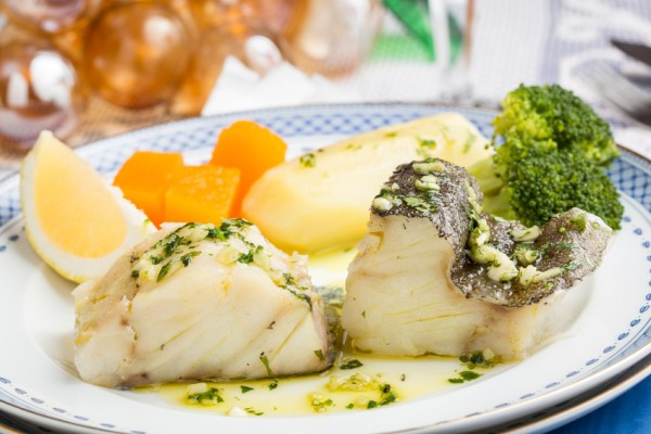 Steamed Atlantic Cod fish with olive oil and garlic - Traditional Christmas Portuguese dish